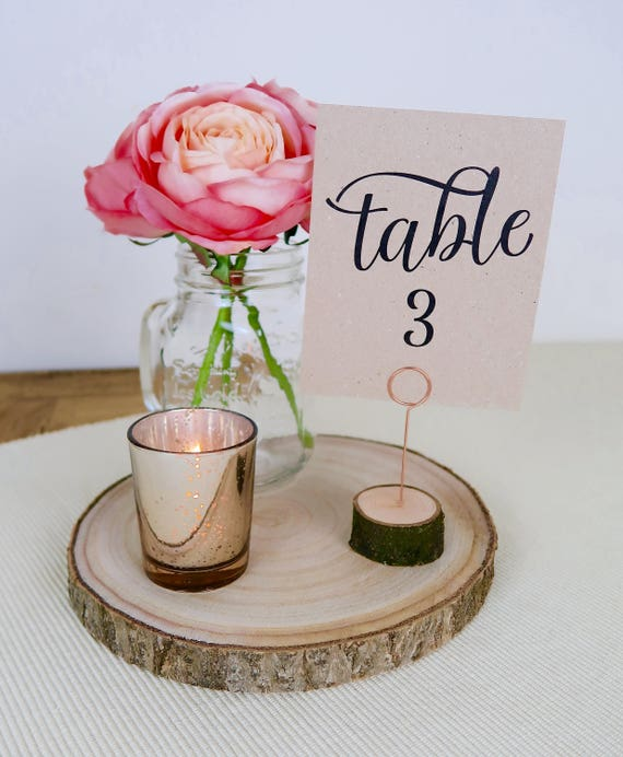 Wooden table number holders table name holders place card wooden table number holders table name holders place card holders menu holders rustic wedding decoration copper wire free uk shipping greentooth Gallery