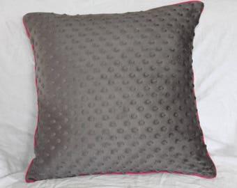 Storm gray minkee velvet Cushion cover, raspberry pink piping
