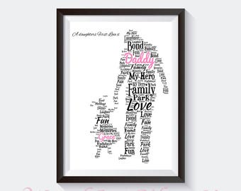Personalised Word Art - Fathers Day - Dad Daddy & Daughter Design A4 Print