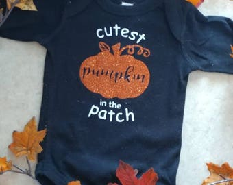 Cutest Pumpkin in the Patch/ Halloween/ Thanksgiving/ Fall/ Vinyl Onesie/ Baby Creeper/ Personalized/ Decorated/ Baby Girl/ Baby Boy