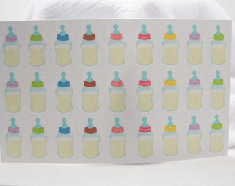 27 Colorful Baby Bottle Stickers PS396 Fits Erin Condren Planners