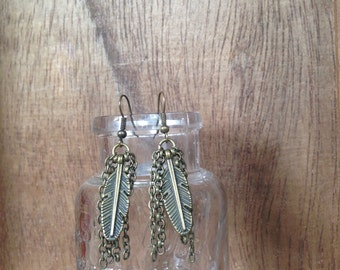 Bronze Bohemian Feather and Tassel Earrings by K'pique Jewelry