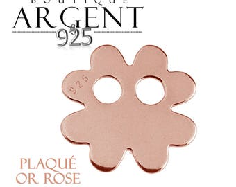 Charm 11.8 mm 925 sterling silver plated rose gold flower with two holes