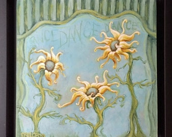 6x6 Original Painting Acrylic Dancing Sunflowers by Rebecca Salcedo FFAW Free Shipping