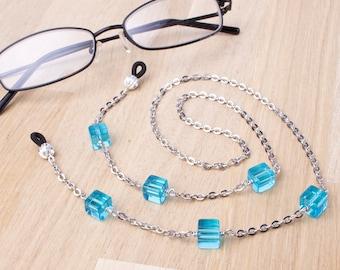 Eyeglass lanyard - blue cube silver glasses chain | Blue bead eyewear holder | Readers gift | Sunglasses chain | Eyeglasses neck cord