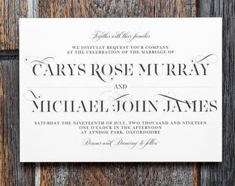 Calligraphy invite, typography invite, wedding invitation, printable invitation, modern wedding, custom, personalized invite, modern