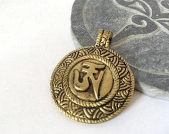Handmade Brass Tibetan Om Pendant from Nepal