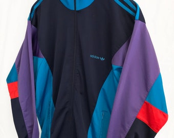 Vintage 80s Adidas Trefoil Windbreaker Tracksuit top jacket Blue/Red/Purple Size M
