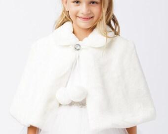 DaisyandLeo Girl's Faux Fur Cape