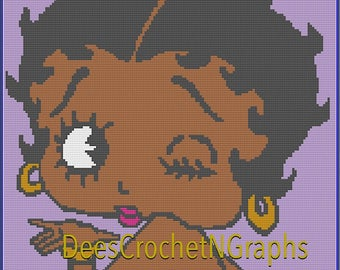 Betty Boop C2C Graph Chart/ Color  Counted Blocks Pattern