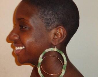 Lime Frost, Crochet Earrings