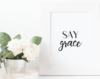 Say Grace Digital Print, Dining Room Print, Kitchen Print, Say Grace Kitchen Wall Art, Dining Room Decor