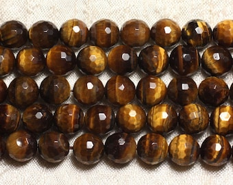 10pc - stone beads - 6mm 4558550023117 faceted Tiger eye