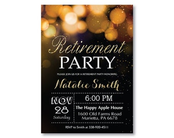 Retirement Party Invitation. Gold Retirement Invitation. Gold Glitter Bokeh. Glam. Black and White. Dinner. Printable Digital.