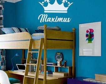 Custom King Crown w/ Name Wall Decal - Prince Crown Children's Vinyl,  Boys Room or Nursery Princess Decor, Personalized