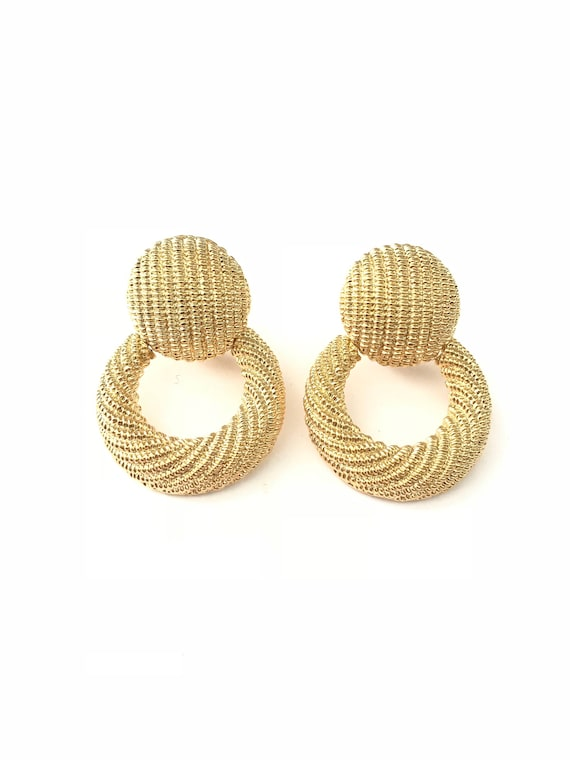 Vintage Textured Gold Plated Door Knocker Clip On Earrings by Etsy