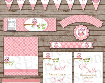 Pink Polka Dot Owl Baby Shower Printable Party Package