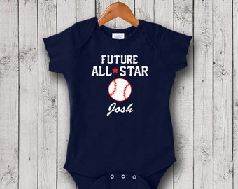 Personalized Baseball One Piece Bodysuit, All Star, Creeper, T-Shirt - New Baby Gift, Christening Gift, Baptism Gift