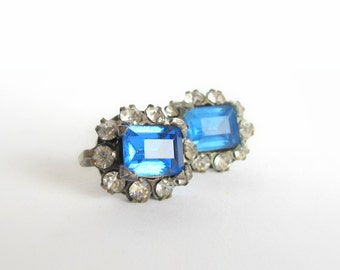 Something Blue No.80 - Vintage Crystal and Rhinestone Earrings in Sapphire Blue
