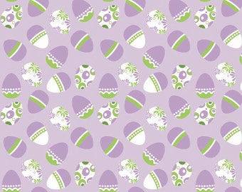 Easter Eggs Purple Holiday Banners by Riley Blake Designs - Green - Quilting Cotton Fabric - choose your cut