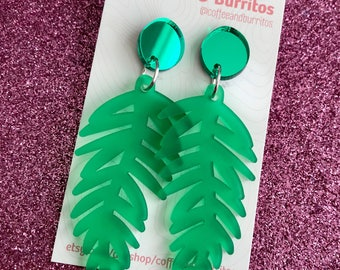 Frosted Fern ~ Green Frosted and Mirror Fern Dangle Earrings