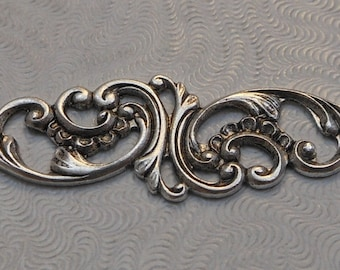 LuxeOrnaments Oxidized Sterling Silver Plated Brass Filigree Floral Focal 54x14mm (1 pc) F-277-S