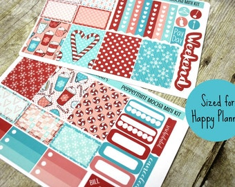 Happy Planner Stickers - Weekly Planner - Erin Condren Life Planner -  Functional stickers - Peppermint Mocha - Christmas stickers