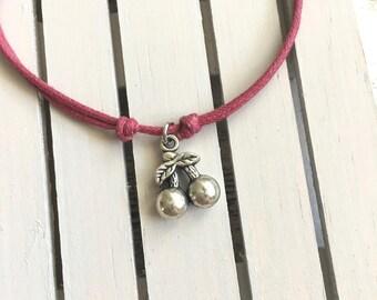 CHERRY bracelet, minimalist bracelet, cotton cord bracelet, friendship bracelet, anklet, cord bracelet, charm bracelet, adjustable bracelet