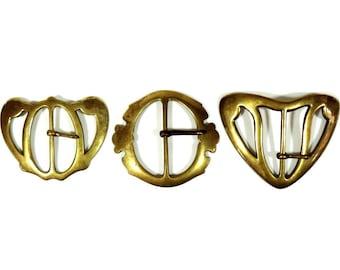 Vintage Belt Buckle/French Art Nouveau Belt Buckle/Vintage Brass Belt Buckles/French Brass Belt Buckles/Art Nouveau Belt Buckles Set OF 3