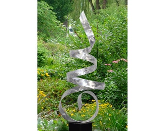 Large Silver Modern Metal Garden Sculpture, Abstract Metal Yard Art, Handmade Indoor-outdoor Decor - Sea Breeze by Jon Allen