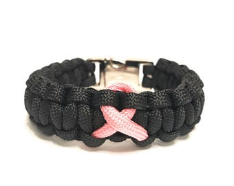 Breast Cancer Awareness Pink Ribbon Fitted Black Paracord Survival Jewelry Bracelet by Tru550 …