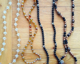Lot of Four 1980's Long Fashion Bead Necklaces, Break Apart for Jewelry Making, Resin, Glass Bead, Destash, Box Clasp, Bronze/Black/Amber