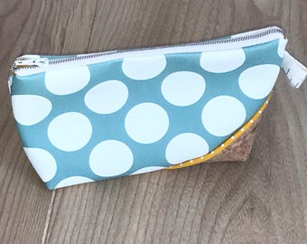 make-up bag, linen and cotton fabric tote