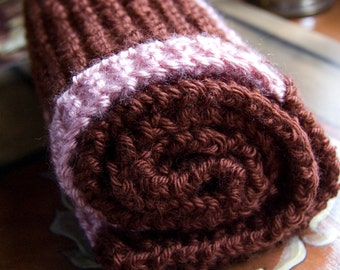 Chocolate and Pink Infinity Scarf