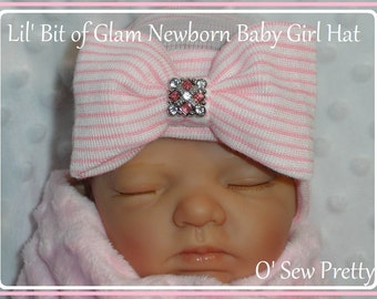 NEWBORN HOSPITAL HAT, Infant Hospital Hat, Little Bit Of Glam Baby Girl Hat, Pink newborn Hat, Baby gifts for girls, take me home outfit