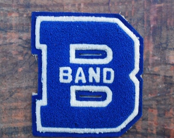 Vintage Chenille Varsity Patch B Band Blue XL, The Standard Pennant Co