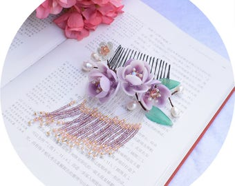 Chinese hair comb/flower hair stick/hair pin,Plum blossom hair flower wedding accessories,gift for women,gift for her,Bridal tiara
