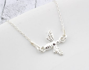 Sterling Silver Bee Necklace, Bee Pendant, Bee Charm, Queen Bee, Silver Bee, Bee Jewelry, Little Bee, Diva, Queen, gift for her, mummy