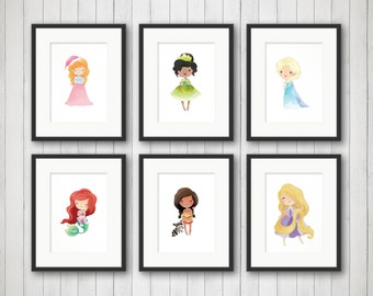 Princess wall art - Princess wall decor - Girls princess room - Princess nursery - Princess art - Fairytale Print Girls Princess Room Decor