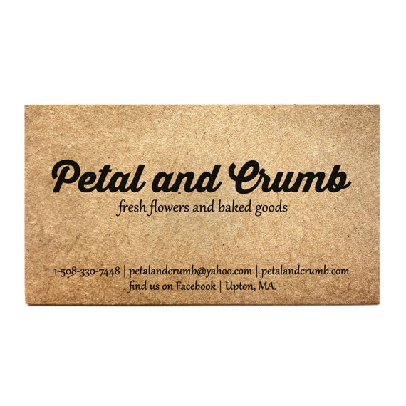 Business cards set of 50 kraft one sided card rustic colourmoves Choice Image