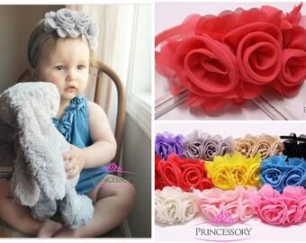 Baby Flower Headband - baby headband - baby girl headband - baby shower gift - rosette - newborn headband - flower headband baby - baby gift