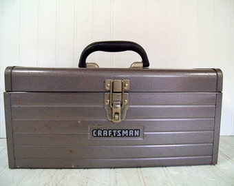 Craftsman Tool Chest Large Heavy Duty Hammered Metallic Brown Enamel Metal - Vintage Craftsman Supply Box - Artisan Tools & Supplies Case