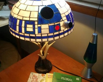 R2D2 Stained Glass Tiffany Style Lampshade 16 inch