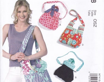 FREE US SHIP McCall's 7418  Purse Handbag Bag HAndle Shoulder Strap Designer Sewing Pattern Factory Folded Out of Print