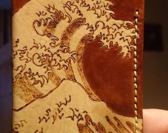 Handmade leather Hokusai Great Wave custom card holder wallet