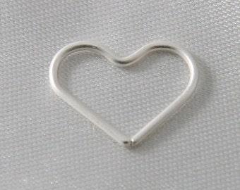 6 pcs - 15mm Heart Link Connectors Matte Silver