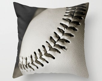 Baseball Pillow Cover-Baseball Home Decor-14x14/16x16//18x18/14x20/20x20/26x26-Sports Pillow-Sepia Baseball Pillow-Gift Ideas-Toss Pillow