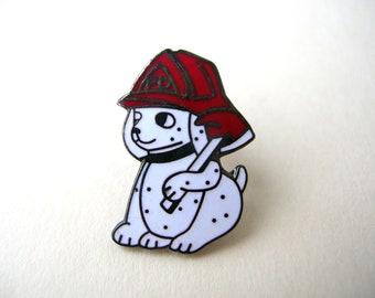 Vintage Pin, Dalmatian Pin, Firehouse Dog Pin, Dalmatian Fire Dog Pin, Vintage Fireman Pin, Lapel Pin, Hat Pin, Flair Pin, Fireman Tie Tack
