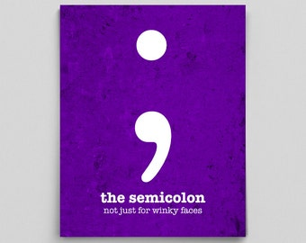 Classroom Decor, Printable Classroom Sign, English Teacher Gift, Grammar Poster, Semicolon Art