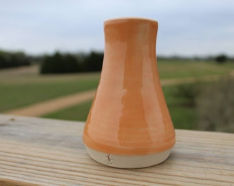 Handmade Tangerine Porcelain Bud Vase Wheel Thrown Pottery